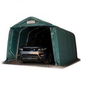 Intent24 Fr - Tente garage carport 3,3 x 7,2 m tente d'élevage abri stockage H 2,1m, bâches PVC anti feu épaisses d'env. 720g/m² vert foncé, sol meuble, terre