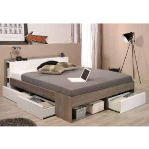 Swithome Combo - Lit adulte en noyer (160 x 200 cm)