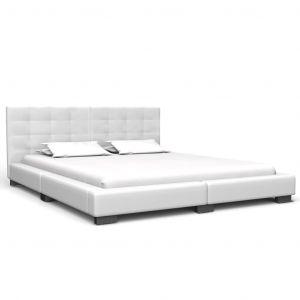 VidaXL Cadre de lit Blanc Similicuir 160x200 cm