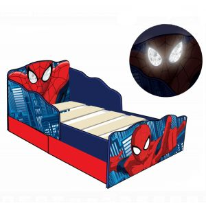 Room Studio Lit P'tit Bed design Spiderman lumineux avec tiroirs de rangement (70 x 140 cm)
