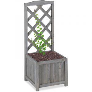 Relaxdays Jardinière avec treillis espalier Tuteur plantes grimpantes bac à fleurs bois vigne lierre 20L, 90cm, gris