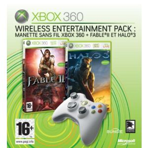 Microsoft Wireless Entertainment Pack : Manette Xbox 360 Sans fil + Fable II + Halo 3
