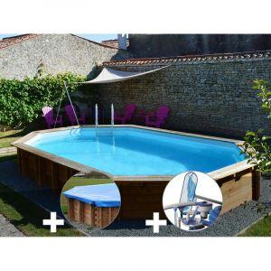 Sunbay Kit piscine bois Safran 6,37 x 4,12 x 1,33 m + Bâche hiver + Kit d'entretien