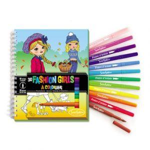Sentosphère Carnet de coloriage Fashion Girls