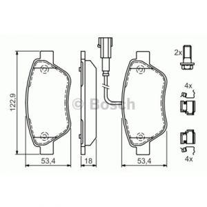 Bosch 4 plaquettes de frein 0986494113
