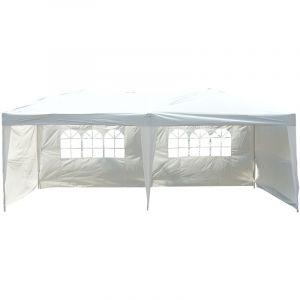 Outsunny Tonnelle barnum tente de réception pliante pop up dim. 6L x 3l x 2,55H m blanc + sac de transport
