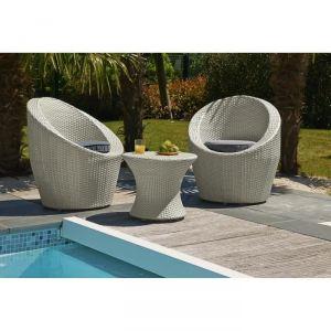 DCB Factory Totem - Salon de jardin en résine tressée 2 fauteuils