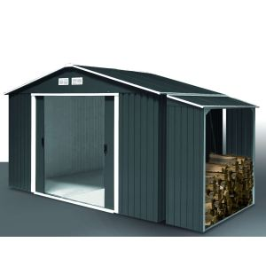 5d0d2a48961e7f Image de Duramax Abri de jardin Titan avec abri bûches Woodstore en métal 4 ,75