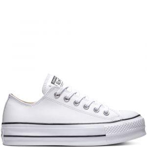 Converse Chuck Taylor CTAS Lift Clean Ox, Sneakers Basses Femme, Blanc Black/White 102, 42 EU