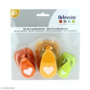 Artémio Lot de perforatrices - Coeur - 3 pcs