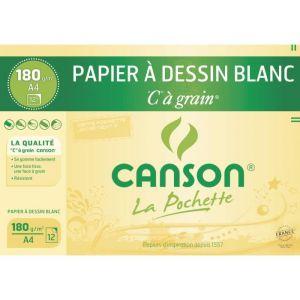 Canson 27107 - 12 feuilles de papier dessin C 180 g (A4)