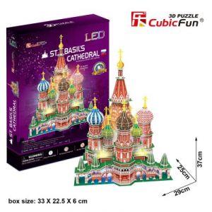 CubicFun Puzzle 3D avec LED Cathédrale Saint-Basile, Moscou 224 pièces