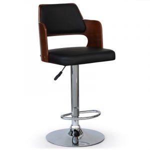 Chaise de Bar BARBERO noir et bois marron pied en Inox