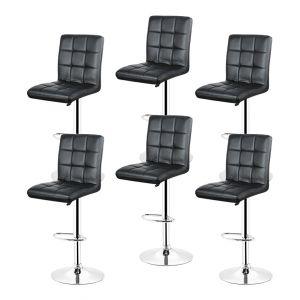 Oobest 6x Tabourets de bar fautruil chaise en hauteur reglable 9 grilles en simili (Noir)