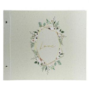 Exacompta 60018E - Album photos Champêtre 37x29 cm, 40p. blanches/160 photos, reliure à vis, coloris blanc
