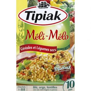 Tipiak Préparation à base de blé dur, flocons d'orge et d'avoine, lenti lles, pois verts et carottes déshydratés. - Le paquet de 2 sachets x 165G