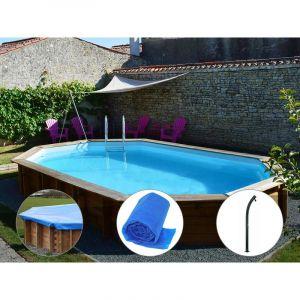 Sunbay Kit piscine bois Safran 6,37 x 4,12 x 1,33 m + Bâche hiver + Bâche à bulles + Douche