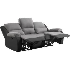 Canapé de Relaxation électrique 3 places Microfibre / Simili DETENTE Couleur Gris / Noir USINESTREET