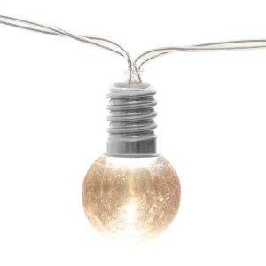 Atmosp ra Guirlande décorative l ineuse Argent 10 Ampoules LED Style Guinguette L 165 cm