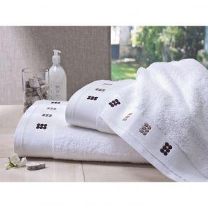 Blanc Cerise Dragées au carré - Maxi drap de bain brodé pois (100 x 150 cm)