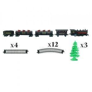 AC-Déco Coffret Circuit De Train Avec Locomotive Et Wagons - 24 Pièces