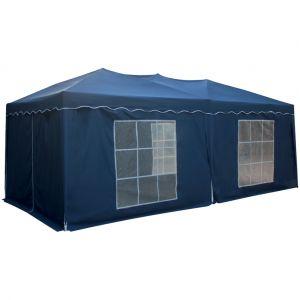 Happy Garden Tente de réception Mistral pliante 3 x 6 m bleue avec panneaux