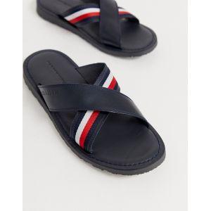 Tommy Hilfiger Criss Cross Leather Sandal, Bout Ouvert Homme, Bleu