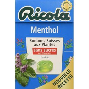 Ricola Menthol, bonbons suisses aux plantes, Sans sucres et avec édulcorants - La boite de 50g
