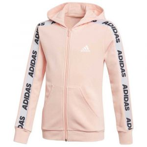 Adidas YG Hood COT TS Survêtement Fille, Glow Pink Medium Grey Heather/White, FR : XS (Taille Fabricant : 5-6Y)