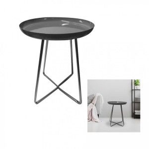 The home deco factory Table d'appoint plateau rond glossy Gris