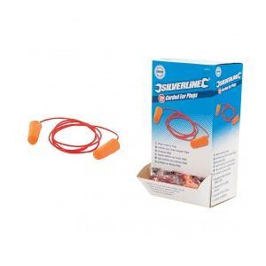 Silverline 427674 - Boîte de 200 bouchons d'oreilles à cordelette 200 pcs
