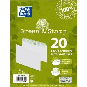 Oxford 20 enveloppes 100% recyclé auto-adhésives - 23,1 cm x 16,4 cm x 0,8 cm - 90g