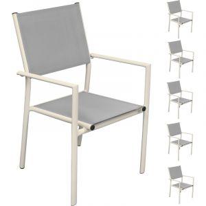 Terra - 6 fauteuils de jardin en aluminium et en toile textilène