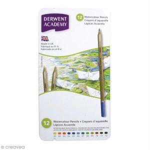 Derwent Boîte de crayons de couleur aquarellables Academy - 12 pcs