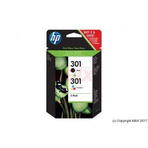 HP 301 - pack de 2 - noir, couleur (cyan, magenta, jaune) - originale - cartouche d'encre