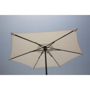 Finlandek Parasol droit 2m - Blanc - Toile en polyester 160g/m² - 6 baleines en acier - Dimensions extérieures : 200x200x215cm - Coloris : blanc.