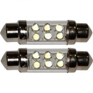 Aerzetix : 2x ampoule C5W 12V 6LED SMD blanc effet xénon 39mm navette éclairage intérieur plaque d'immatriculation seuils de porte plafonnier pieds lecteur de carte coffre compartiment moteur