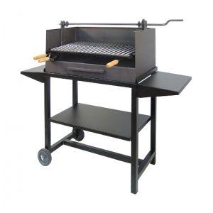El zorro Artisanal - Barbecue à charbon de bois avec plateaux latéraux en acier 100 x 61 x 40 cm