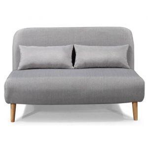 BEDZ Banquette BZ 2 places Tissu gris clair Style scandinave L 132 x P 90 cm