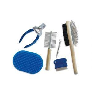 M pets Set 6 Pièces de toilettage Grooming - Pour chien - Noir et bleu