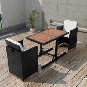 VidaXL Ensemble de mobilier jardin 7 pièces rotin synthétique noir