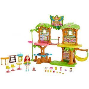 Mattel Enchantimals Coffret Maison Café Jungle Enchantée, Mini-poupée Peeki Perroquet, Figurine Animale Sheeny, balançoire et accessoires, jouet enfant, GFN59