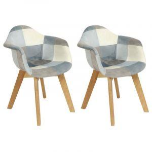 Lot de 2 fauteuils enfant Patchwork Leonie Bleu