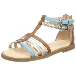 Geox Karly D, Sandales Bout Ouvert Fille, Beige (Caramel/Lake), 31 EU