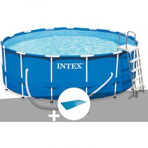 Intex Kit piscine tubulaire Metal Frame ronde 4,57 x 1,22 m + Bâche à bulles