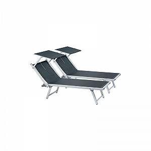 2 bains de soleil en aluminium et textilène Long Beach