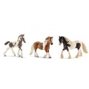 Schleich Figurines de chevaux tinker (jument, étalon, poulain)