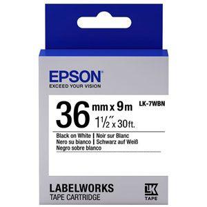 Epson LabelWorks LK-7WBN - Bande d'étiquettes noir sur blanc Rouleau (3,6 cm x 9 m)