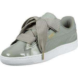 Image de Puma Basket Heart Patent Wn's, Sneakers Basses Femme, Gris (Rock Ridge-Rock Ridge), 38.5 EU