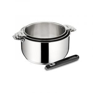 Lagostina 012135600004 Série de 3 casseroles inox 16/18/20cm + poignée salvaspazio